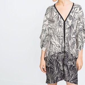 Zara Black White Printed Tunic Dress